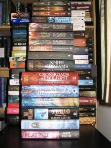 Ellie's stash of unread books