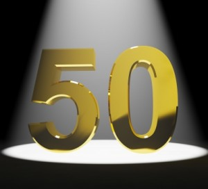 Spotlight on gold number 50