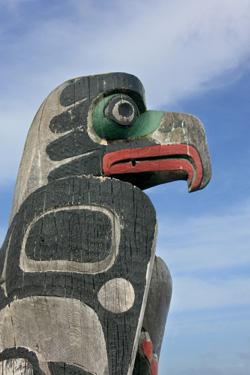 Carved raven totem