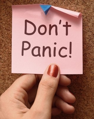 "Post it note says ""Don't panic"""