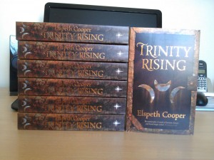 Stack of Trinity Rising paperbacks