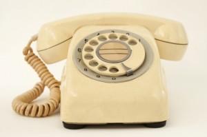Old cream rotary phone