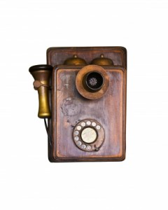 Old wooden telephone