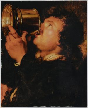 Painting of man drinking beer from a tankard by Karel van Mander III
